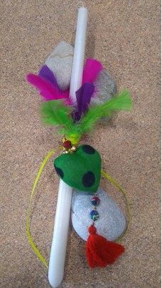Easter Candle green heart