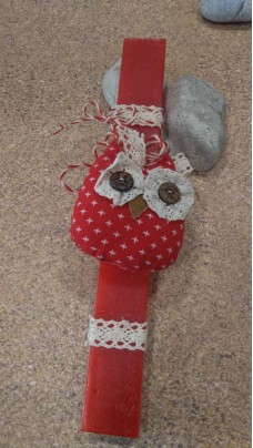 Easter Candle Owl Red