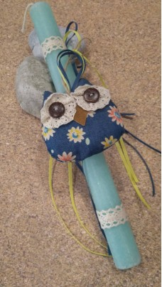 Easter Candle Owl Blue