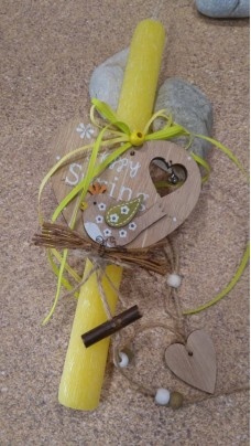 Easter Candle Wooden Heart
